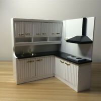 1/12 White Wood Kitchen Cupboard Cabinet Dollhouse Miniature Room Furniture