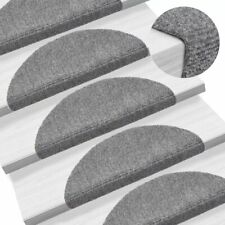 vidaXL 15x Self-adhesive Stair Mats Needle Punch 65x21x4cm Light Grey Rugs