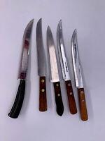 Vintage Flint XXX Hi-Carbon & Geneva Forge knife Logo USA Steel lot of 5