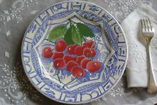 """GIEN Oiseaux Bleu Fruit Dessert/Salad Plate Cherries 8.75"""" NEW NEVER USED France"""