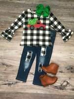 Girls, Toddler Plaid Christmas Tree Truck Winter Denim Set 2T 3T 4T 5 6 7 8