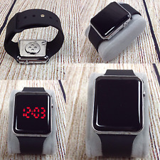 New Digital Silicone Watch Women's Men's Unisex Sport LED Wrist Bracelet Black