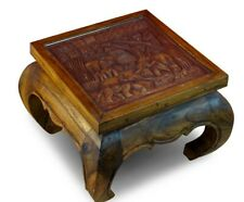 Coffee Table Solid Wood 50 x 50cm Elephants Living Room Wooden Glass