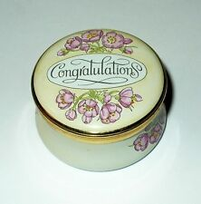 CRUMMLES ENAMEL BOX - CONGRATULATIONS & PINK FLOWERS - GRADUATION - WEDDING