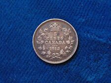 1912 CANADA  Canadian FIVE 5 cents piece silver coin