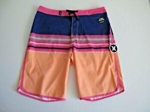 Hurley Boys 18/29 Orange Pulse Pink Blue Surf Board Shorts Beach 2 Way Stretch