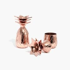 NEW W&P Design ℅ Madewell Pineapple Shot Glass Set in Rose Gold • Set of 2