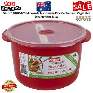 Décor 148700-003 Microsafe Microwave Rice Cooker and Vegetable Steamer Red NEW