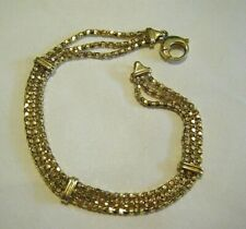 "Vintage 14K Gold MGO 8mm Triple Chain Strands Bracelet 7.5"" Italy 7.3g"