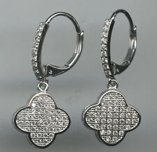 RHODIUM PLATED, MICRO PAVE 3/4 CARAT TW CZ CLOVER DANGLE LEVERBACK EARRINGS