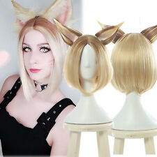 LOL KDA K/DA Ahri Prestige Short Cosplay Bob Wigs Straight Blonde Ombre Hair Wig