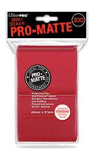 100 Ultra Pro RED PRO MATTE DECK PROTECTORS SLEEVES Standard Pokemon Magic MTG