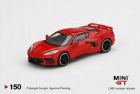 Mini GT 1:64 2020 Torch Red Chevrolet Corvette C8 Stingray Model Car MGT00150