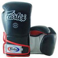 FAIRTEX MUAY THAI KICK BOXING BGV6 GLOVES BLACK WHITE RED SPARRING STYLISH MMA