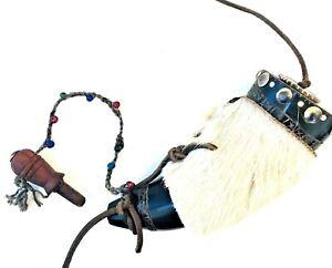 Black Powder Powder Horn Plug with Hand Beaded Lanyard, Calf Skin Cover
