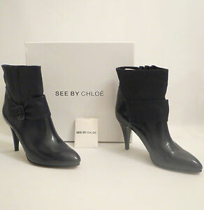 Women's CHLOE Leather Ankle Bow Boots Heels Size UK 7