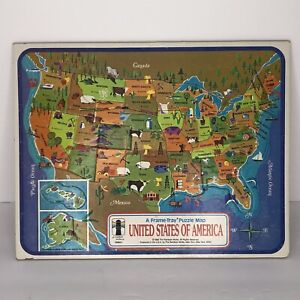 Vintage 1968 USA MAP PUZZLE 25 Piece Rainbow Works A Frame-Tray Picture Puzzle