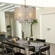 Modern 4 lights Crystal Chandelier Pendant Fixture Drum Lamp Shade*Ceiling Light