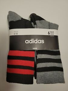 6Adidas MEN CLIMALITE CREW CUSHIONED DRY Socks 6 pair BLACK RED GRAY Large 6-12