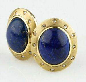 Gorgeous 14k Yellow Gold Lapis Lazuli Earrings with Flush Set Diamond Accents