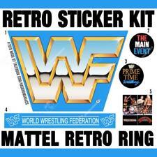 ♛ MATTEL RETRO RING 10x WWF HQ PRE CUT STICKERS HASBRO FIGURES WWE REPLACEMENT ♛