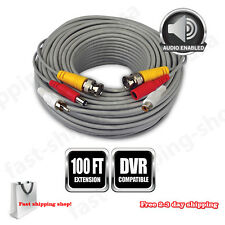 100 Feet BNC Video Power CCTV Audio Camera Durable Extension Cable & Adapter NEW