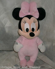 "14"" DISNEY BABIES MINNIE MOUSE STUFFED ANIMAL PLUSH TOY DOLL PINK PAJAMAS BABY"