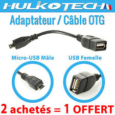 CABLE OTG HOST ADAPTATEUR MICRO-USB 2.0 MALE / USB FEMELLE  pour MOTOROLA MOTO G