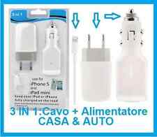 Alimentatore iPhone 5,5s,5c,6,6 plus,S.Caricabatterie casa,auto,cavo USB PC.iPod