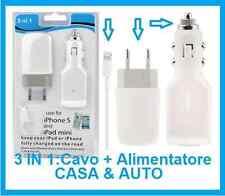 Alimentatore iPhone 5,5s,5c,6,6 plus,S.Caricabatterie casa,auto,cavo USB PC.iPod