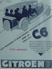 PUBLICITE CITROEN C6 LA FAMILIALE 7 PASSAGERS ET BAGAGES DE 1929 FRENCH AD CAR