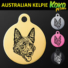 Australian Kelpie Round Pet Dog Puppy ID Tag Personalised Engraved Aluminium
