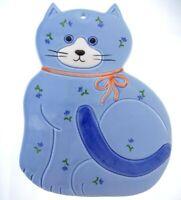 "9"" Otagiri Japan Vintage Blue Floral Cat Ceramic Trivet Wall Hanging"