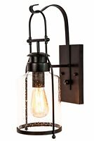 Rustic Wall Sconce Lantern-Rubbed Bronze-Industrial-Muskoka Lifestyle Products