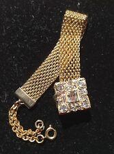 Vintage Goldtone Mesh Fob Chain Pocket Belt Chain Watch With Rhinestone