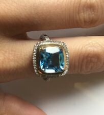 Silver & 14k Yellow Gold Diamond & Swiss Blue Topaz Ring (0.12 cttw, I-J, I3) 6""