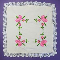 Vintage Embroidered Floral Linen Crochet Lace Doily Handmade Cottage Chic 18.5""