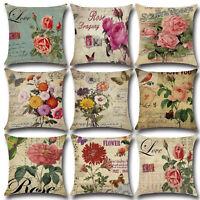Vintage Flower Printed Pillow Case Sofa Waist Throw Cushion Cover Bed Home Decor