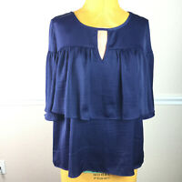 Jennifer Lopez Womens Top Blue Ruffle Bell Sleeve Keyhole  Blouse Size L