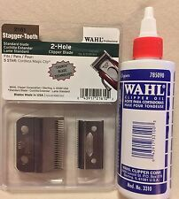 WAHL PROFESSIONAL 2 HOLE BLADE STAGGER TOOTH CRUNCH BLADE # 2161 & BLADE OIL 4OZ