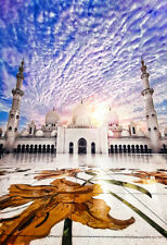 White Mosque Muslim Islamic Holy Building Masjid Print Canvas Wall Art Lounge