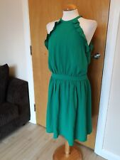 Ladies Dress Size 14 Green Party Evening Smart Crinkle