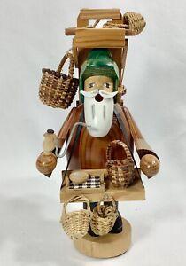 "German Vintage 9"" Basket Seller Wooden Old World Christmas Smoker"
