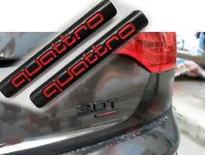 2Pcs Black&Red Quattro Badge Emblem Rear Trunk Sticker A3 A4 A5 A6 A7 Q3 Q7 TT