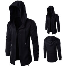Punk Hooded Outwear Fashion Men Gothic Black Trench Coat Jacket Casual Overcoat