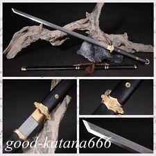 """Full Tang Chinese Sword""""Tang Jian""""Patter Steel Katana Sharp Blade Ebony Sheath"""