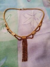 Yellow Metal Necklace With Brown Settings