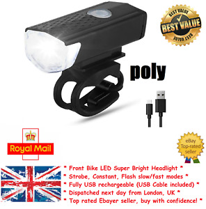 Bike Head Light ''Poly'' Scooter eBike White Front Bicycle New UK Safety LED USB