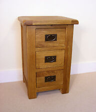 Zelah Oak Tall Bedside Table / Large Nightstand / Rustic Solid Wood Bedside /New