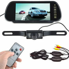 "7"" TFT LCD Mirror Monitor & Wireless Backup Camera Night Vision Rear View System"
